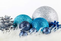 Festive glitter christmas decoration silver blue Stock Photo