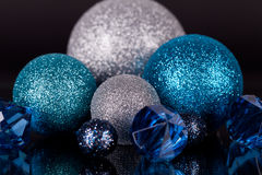 Festive glitter christmas decoration silver blue Royalty Free Stock Image
