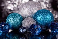 Festive glitter christmas decoration silver blue Stock Image