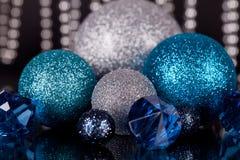 Festive glitter christmas decoration silver blue Royalty Free Stock Photo