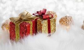 Festive glitter Christmas gifts decoration Stock Photos