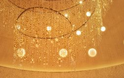 Festive glowing lights hanging decoration stock photography