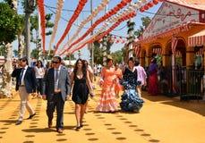 Festive goers during Seville Spring Festival 2014 Stock Image