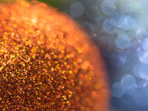 Festive gold and blue abstract  background with bokeh lights Royalty Free Stock Image