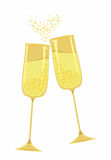 Festive gold champagne glasses. Scalable and editable Royalty Free Stock Photo