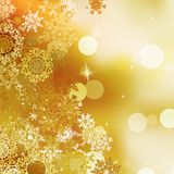 Festive gold Christmas with bokeh lights. EPS 10 Stock Images