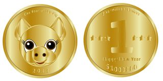 Festive gold coin of one million dollars, heads and tails, dedicated to the new 2019, the year of the pig. Designed to congratulate loved ones happy New Year vector illustration