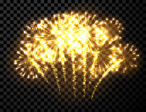 Festive gold firework background. Vector illustration Stock Photos
