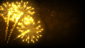 Festive gold firework background. Vector illustration Stock Photography