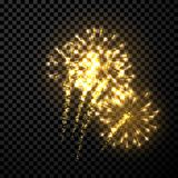 Festive gold firework background. Vector illustration Royalty Free Stock Photography