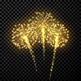 Festive gold firework background. Vector illustration Royalty Free Stock Photos