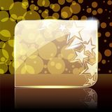 Festive gold glass banner. Shiny glass and metal banner with stars. Graphics are grouped and in several layers for easy editing. The file can be scaled to any Royalty Free Stock Image