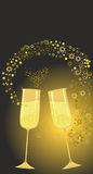 Festive gold glasses. Editable and scalable vector decorative elements Stock Images