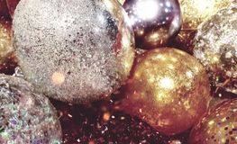 Festive gold and silver icy decoration balls