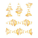 Festive gold streamers. Collection of festive gold spiral curls. Ready for connection Stock Images