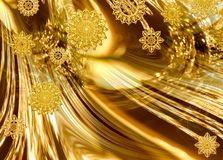 Festive golden abstract. Festive bright golden abstract background with stylized snowflakes based on antique silver pattern Stock Images