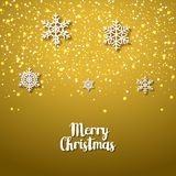 Festive golden background with snowflakes. Xmas festive season of Christmas winter holiday. Anniversary vector card Royalty Free Stock Photo