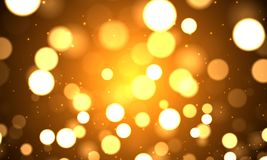 Festive golden bokeh background. Vector art illustration of a holiday Royalty Free Stock Photo