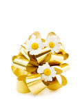 Festive golden bow and pretty flowers. Celebrating a special day with fresh daisies and festive golden bow. Isolated on white royalty free stock photography
