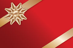 Festive Golden Bow on red background. Festive Golden Bow and Ribbons on red background for greeting card vector illustration Royalty Free Stock Photos