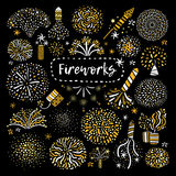 Festive Golden Firework Icons Set. Golden yellow festive different types firework shapes icons composition on black background set poster abstract vector Stock Photography