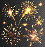 Festive Golden Firework Salute Burst on Black Royalty Free Stock Photography