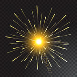 Festive Golden Firework Salute Burst on Transparent Background. Vector illustration. Festive Golden Firework Salute Burst on Transparent Background Stock Photos