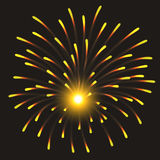 Festive Golden Firework Salute Burst on Transparent Background. Vector illustration. Festive Golden Firework Salute Burst on Transparent Background Stock Photography