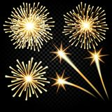 Festive golden firework salute burst on transparent checkered Background. illustration. Festive golden firework salute burst on transparent checkered Background Stock Photos