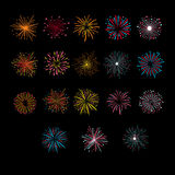 Festive Golden Firework Salute Burst. Vector Illustartion. Set Royalty Free Stock Photography