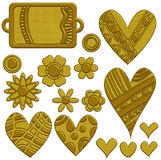 Festive golden hearts, flowers and tag Stock Photo