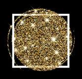 Festive golden luminous background. Black festive golden luminous sandy background. Vector illustration Stock Photo