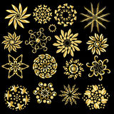 Festive golden ornament collection. Isolated over black background vector illustration