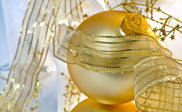Festive Golden Ornaments Still Life Stock Images