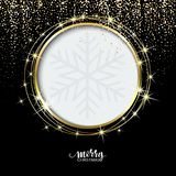 Festive golden sparkle background. Glitter border, circle frame. Black and gold vector dust. Great for christmas and. Birthday cards, valentine and wedding vector illustration