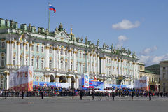 Festive grandstand in the background of the Winter Palace. Victory day in St. Petersburg Royalty Free Stock Photos