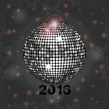 Festive gray glowing background with disco ball. Festive Glowing Gray Background with Disco Ball Stars Frame and Lens Flare Stock Photo