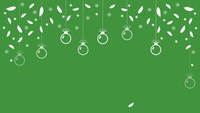 Festive green background with balls  snowflakes and feathers. Vector Royalty Free Stock Images