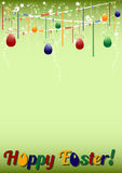 Festive green background for Easter with colored eggs on garland Stock Photos