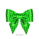 Festive green bow. Vector illustration of festive green bow with white dot Royalty Free Stock Images