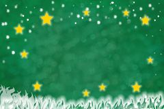 Festive background design with snowflakes and shiny stars. Festive green christmas background with snowflakes and shiny yellow stars. Space for text Royalty Free Stock Photography