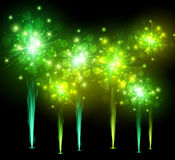 Festive green firework background. Festive green firework on black background. Vector illustration Stock Photos