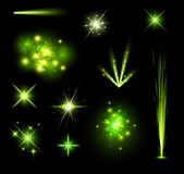 Festive green firework set. On black background. Vector illustration Royalty Free Stock Images