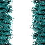 Christmas fluffy tree template. Festive greeting border. Isolated fir banner background. Happy new Year poster frame decoration. Realistic Merry Christmas branch Royalty Free Stock Image