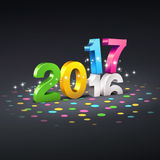 2017 Festive greeting card. Colorful 2017 New Year type over 2016, on a black ground full of confetti - 3D illustration stock illustration