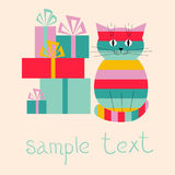 Festive greeting card with cute cat and gifts. Festive greeting card with a cute cat and gifts Royalty Free Stock Images