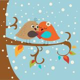 Festive greeting card with cute love birds. Festive greeting card with a cute love birds Stock Images