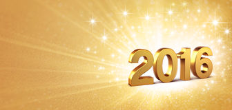 2016 festive greeting card. 3D New Year gold 2016 on a golden background with sparkling lights Royalty Free Stock Photography