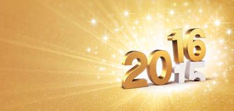 2016 festive greeting card. 3D New Year gold 2016 over 2015 on a golden background with sparkling lights Royalty Free Stock Image