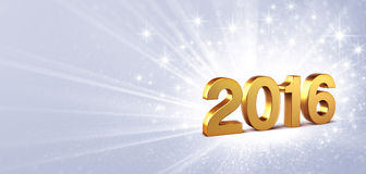 2016 festive greeting card. 3D New Year gold 2016 on a silver background with sparkling lights Stock Image